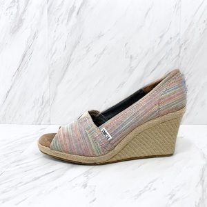Toms Shoes - Toms- Rainbow Stripe Peeptoe Espadrille Wedges 8